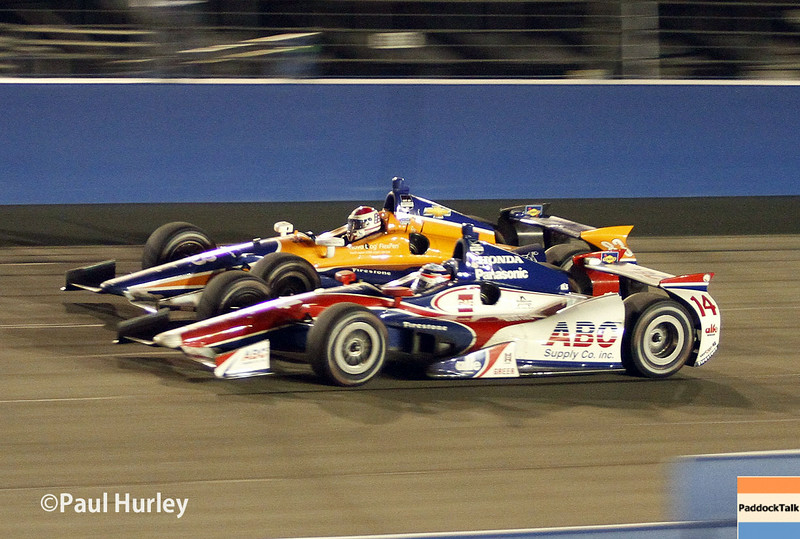 August 30:Takuma Sato and Charlie Kimball during the MAVTV 500 race at Auto Club Speedway.