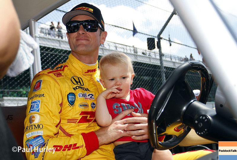 May 10: Ryan Hunter-Reay and son during the Grand Prix of Indianapolis.