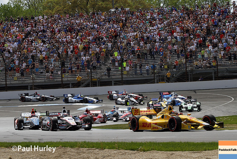 May 10: Race start during the Grand Prix of Indianapolis.