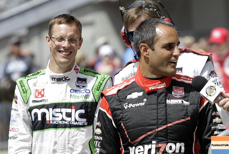 May 10: Juan Montoya and Sebastien Bourdais during the Grand Prix of Indianapolis.