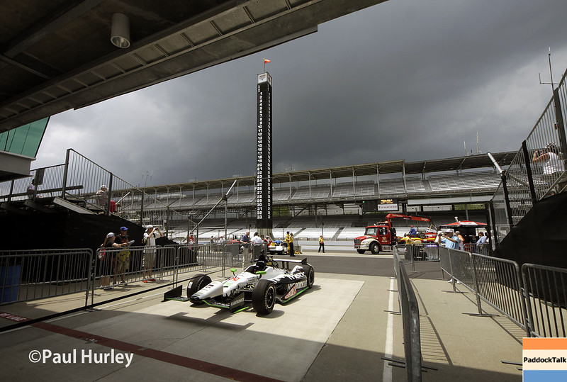 May 13: Pit lane entrance during practice for the Indianapolis 500.