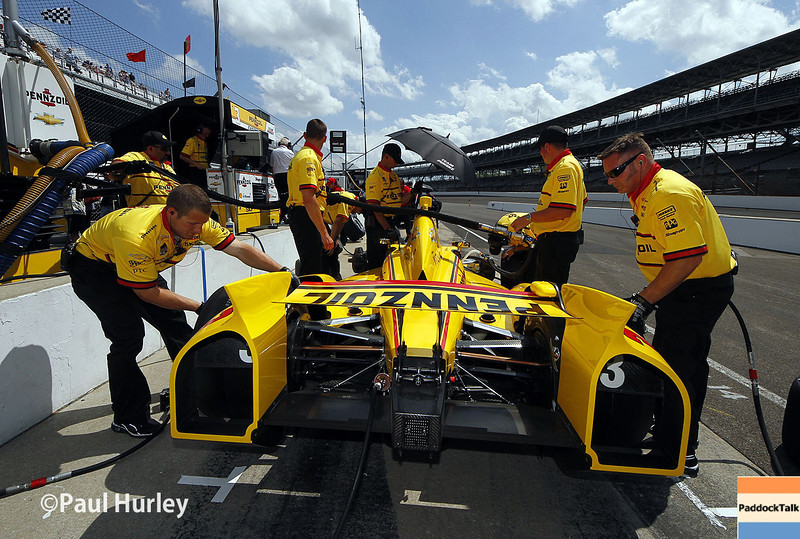 May 10: Helio Castroneves during practice for the Indianapolis 500.