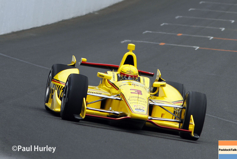 Team Penske driver Helio Castroneves and his No. 3 Chevrolet setting the pace at 227.166 mph.