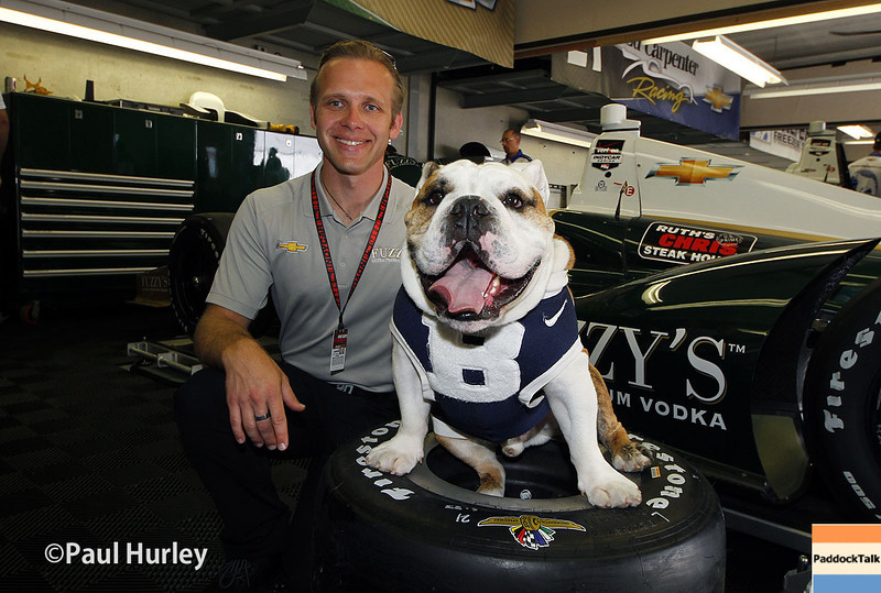 May 13: Ed Carpenter and Butler University mascot during practice for the Indianapolis 500.