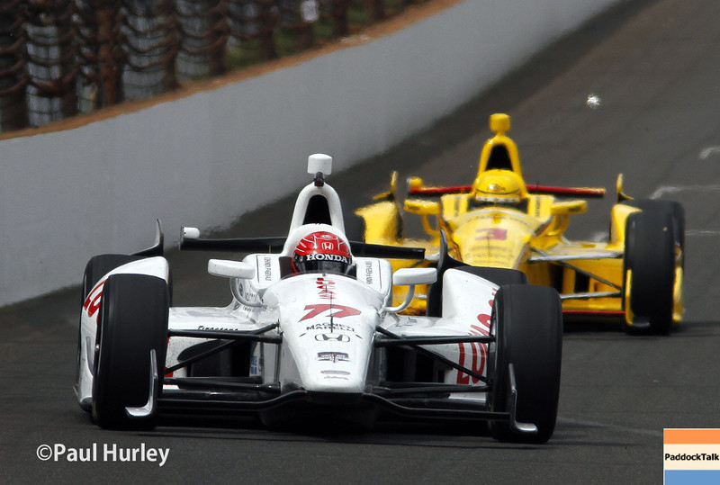 May 12: Simon Pagenaud and Helio Castroneves during practice for the Indianapolis 500.