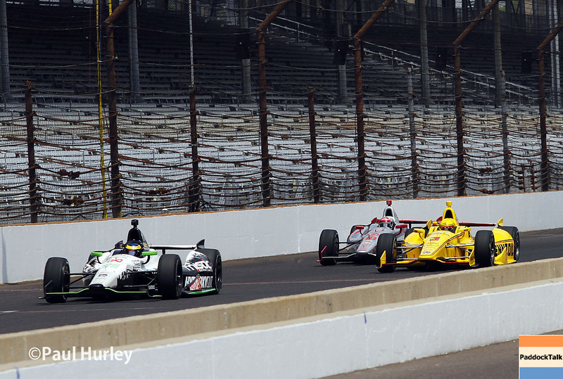 May 13: Track action during practice for the Indianapolis 500.