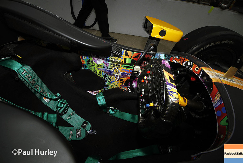 May 13: Townsend Bell's cockpit during practice for the Indianapolis 500.