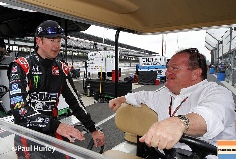May 12: Kurt Busch and Chip Ganassi during practice for the Indianapolis 500.
