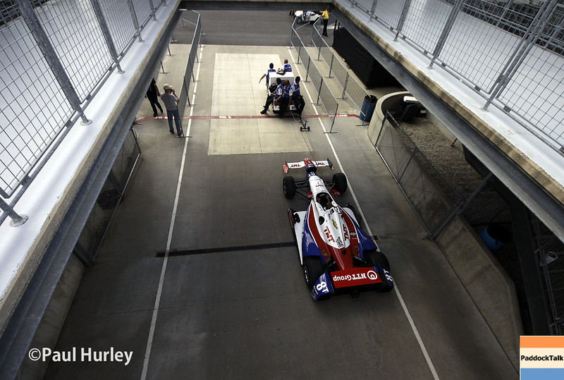 May 10: Garage entrance during practice for the Indianapolis 500.