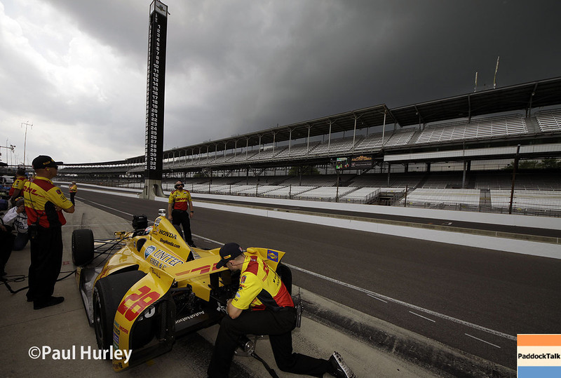 May 13: Pit lane during practice for the Indianapolis 500.