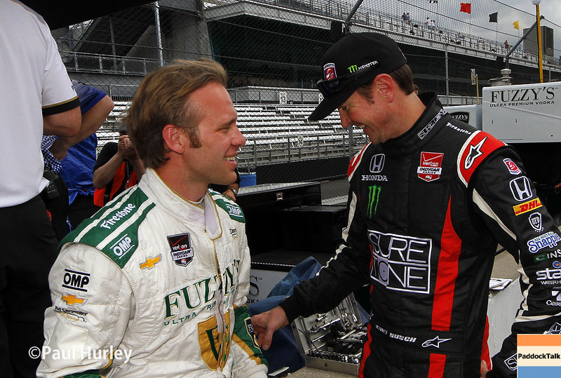 May 10: Ed Carpenter and Kurt Busch during practice for the Indianapolis 500.