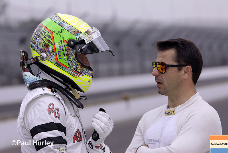 May 13: Townsend Bell and Oriol Servia during practice for the Indianapolis 500.