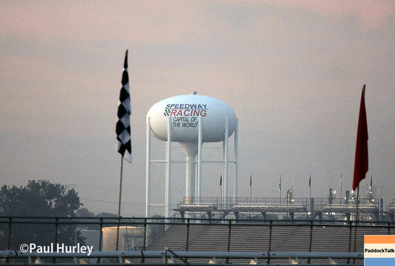 May 25: Speedway water tower early in the morning before the 98th Indianapolis 500.