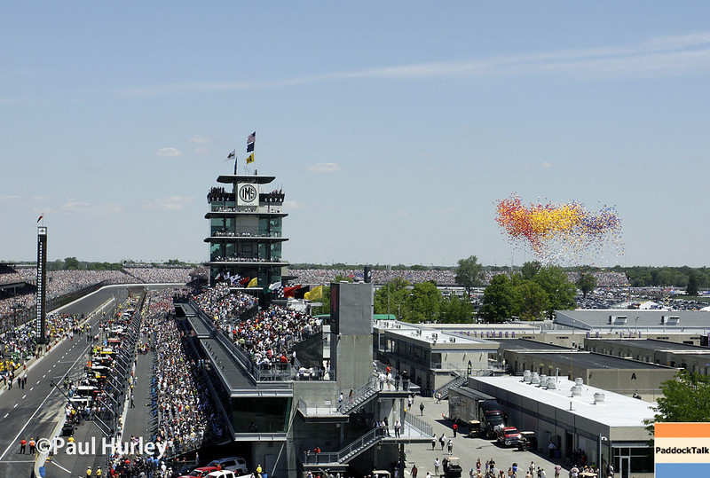 May 25: Looking north before the 98th Indianapolis 500.
