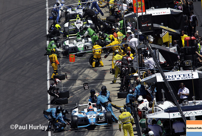 May 25: Pit action during the 98th Indianapolis 500.
