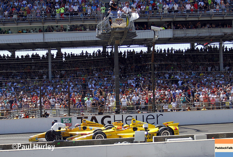 May 25: Ryan Hunter-Reay and Helio Castroneves during the 98th Indianapolis 500.