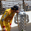 May 26: Ryan Hunter-Reay kisses the Borg-Warner trophy after winning the 98th Indianapolis 500.
