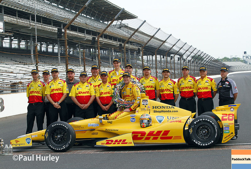 May 26: Ryan Hunter-Reay and team after winning the 98th Indianapolis 500.