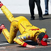 May 25: Ryan Hunter-Reay kisses the bricks after winning the 98th Indianapolis 500.