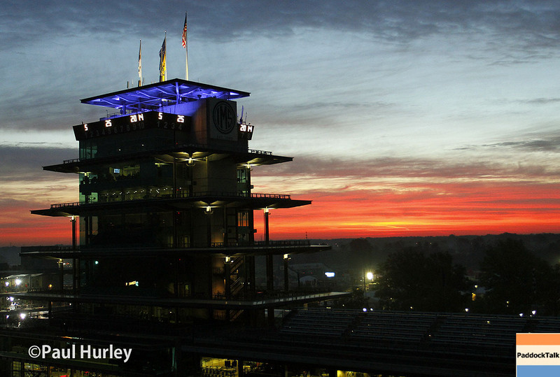 May 25: The pagoda at daybreak before the 98th Indianapolis 500.