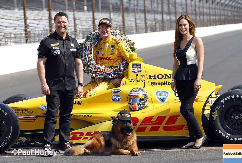 May 25: Michael and Jodi Andretti with Ryan Hunter-Reay after winning the 98th Indianapolis 500.