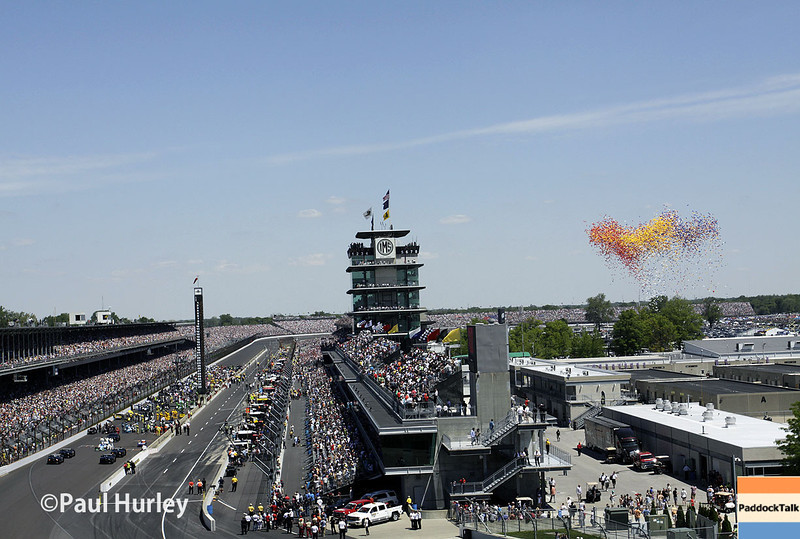 May 25: The pagoda and balloons before the 98th Indianapolis 500.