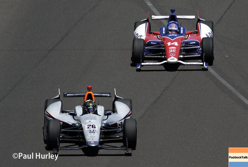 May 25: Kurt Busch and Takuma Sato during the 98th Indianapolis 500.
