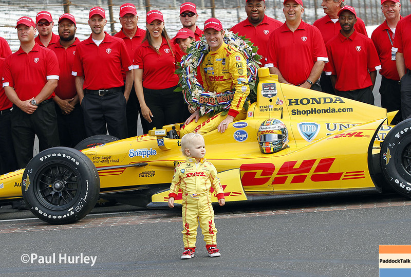 May 26: Ryden, Ryan Hunter-Reay, and team after the 98th Indianapolis 500.