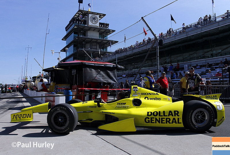 May 23: Jacques Villeneuve's car during qualifications for the 98th Indianapolis 500.