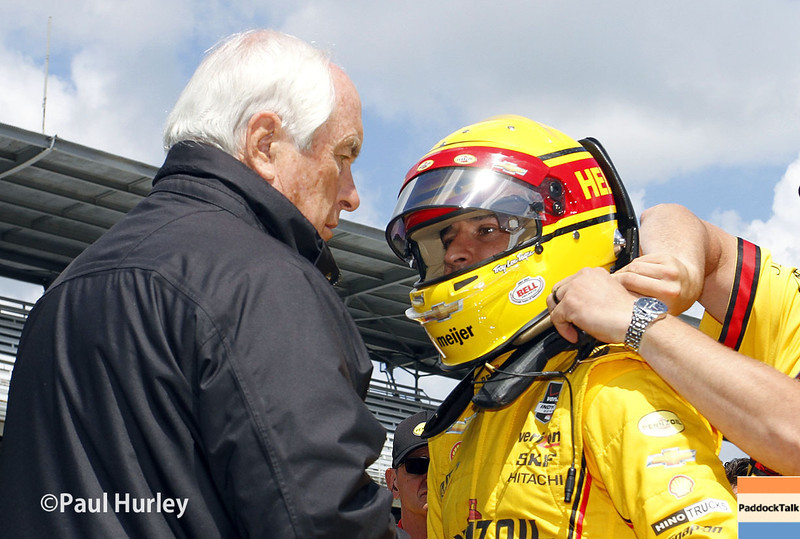 May 17:  Roger Penske and Helio Castroneves during qualifications for the Indianapolis 500.