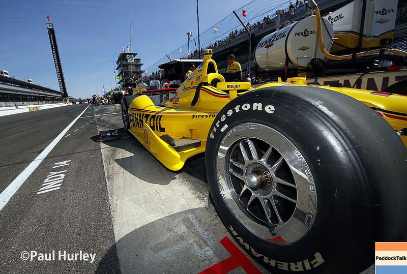 May 23: Helio Castroneves' car during qualifications for the 98th Indianapolis 500.