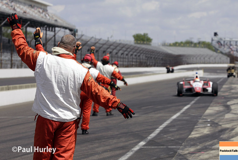 May 17:  Pit action during qualifications for the Indianapolis 500.