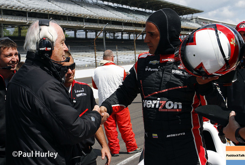 May 17:  Roger Penske and Juan Montoya during qualifications for the Indianapolis 500.