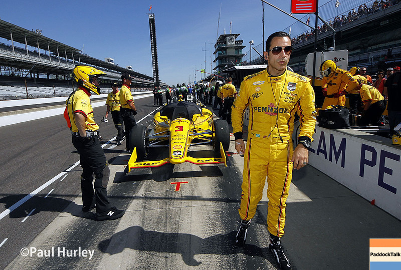 May 23: Helio Castroneves during qualifications for the 98th Indianapolis 500.