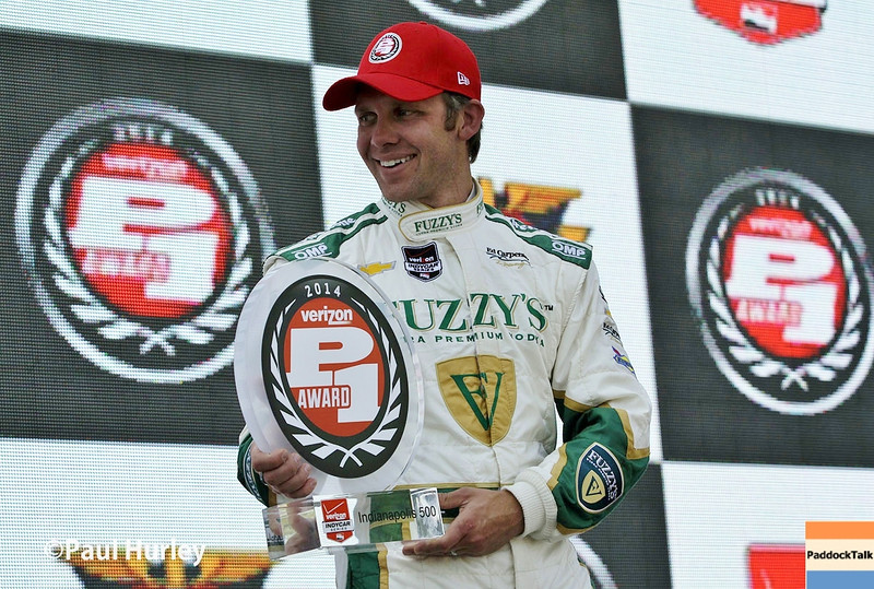 May 18:  Pole sitter, Ed Carpenter, after qualifications for the Indianapolis 500.