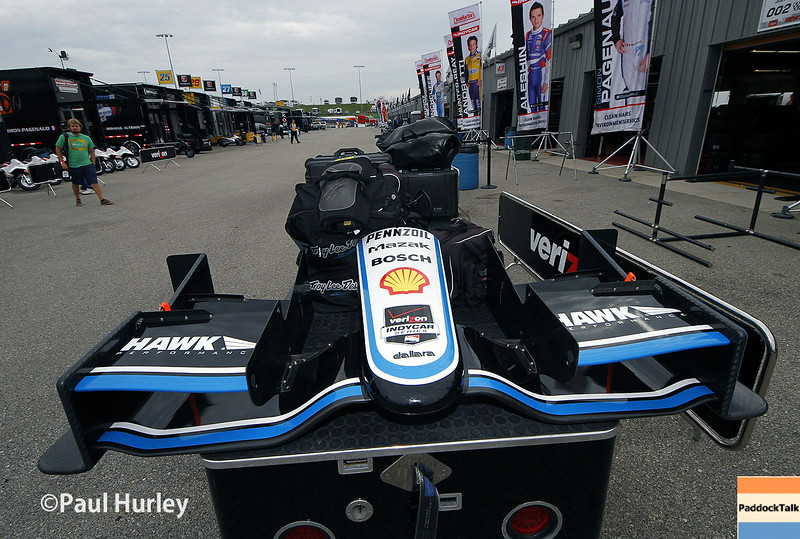 July 11: Juan Montoya's nose cone at the Iowa Corn Indy 300.