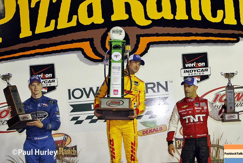 July 12: Winners podium at the Iowa Corn Indy 300.