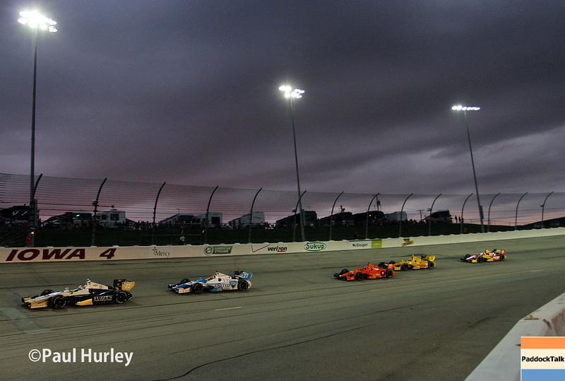 July 12: Turn 4 at the Iowa Corn Indy 300.