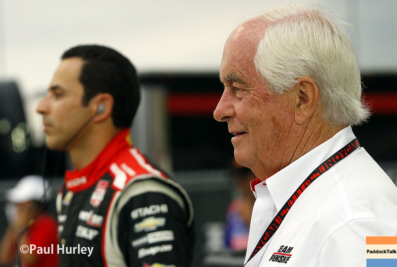 July 12: Helio Castroneves, Roger Penske at the Iowa Corn Indy 300.