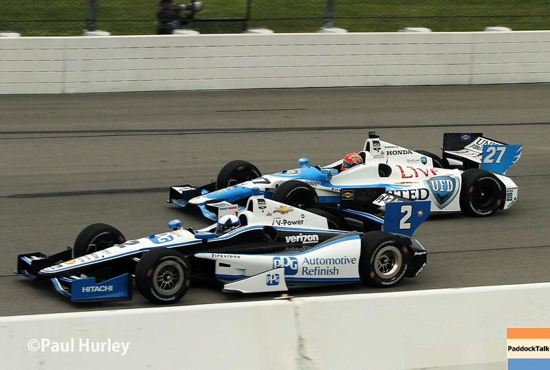 July 11: James Hinchcliffe and Juan Montoya at the Iowa Corn Indy 300.