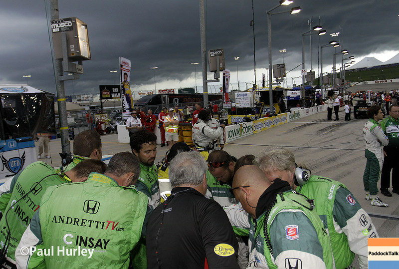 July 12: Team prayer at the Iowa Corn Indy 300.