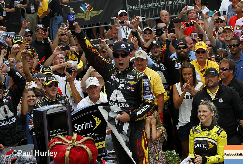 Jeff Gordon and his No. 24 NASCAR Sprint Cup car make history on the Indianapolis Motor Speedway oval with fifth win!
