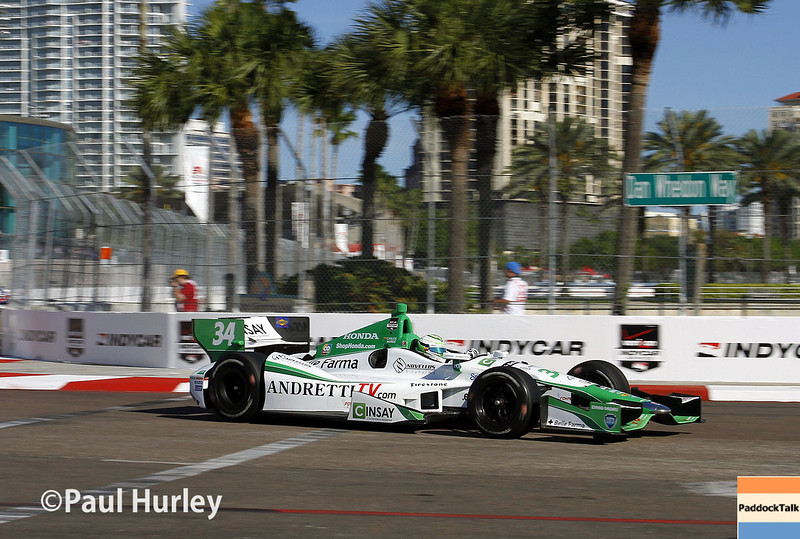 March 30:  Carlos Munoz during prerace warm-up for the Verizon IndyCar Firestone Grand Prix of St. Petersburg.
