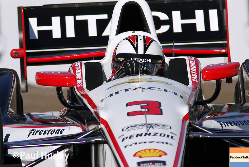 March 30:  Helio Castroneves during prerace warm-up for the Verizon IndyCar series Firestone Grand Prix of St. Petersburg.