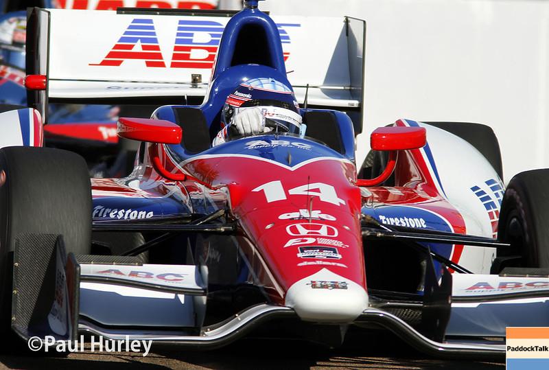 March 30:  Takuma Sato during prerace warm-up for the Verizon IndyCar series Firestone Grand Prix of St. Petersburg.