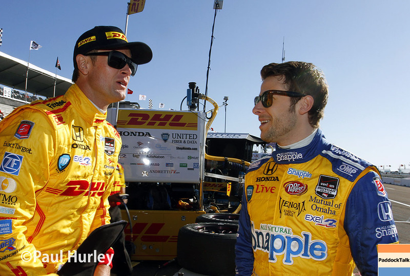 March 30:  Ryan Hunter-Reay and Marco Andretti during prerace warm-up for the Verizon IndyCar series Firestone Grand Prix of St. Petersburg.
