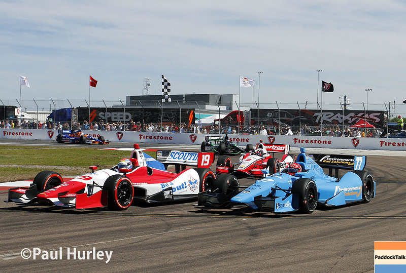 March 30: Green flag during the Firestone Grand Prix of St. Petersburg Verizon IndyCar series race.