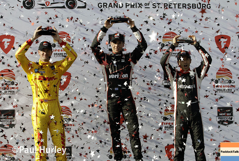 March 30: Victory podium during the Firestone Grand Prix of St. Petersburg Verizon IndyCar series race.
