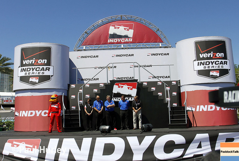 March 30: IndyCar stage during the Firestone Grand Prix of St. Petersburg Verizon IndyCar series race.