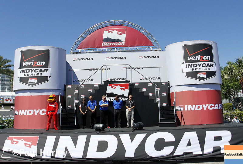 March 30: Pre-race stage during the Firestone Grand Prix of St. Petersburg Verizon IndyCar series race.